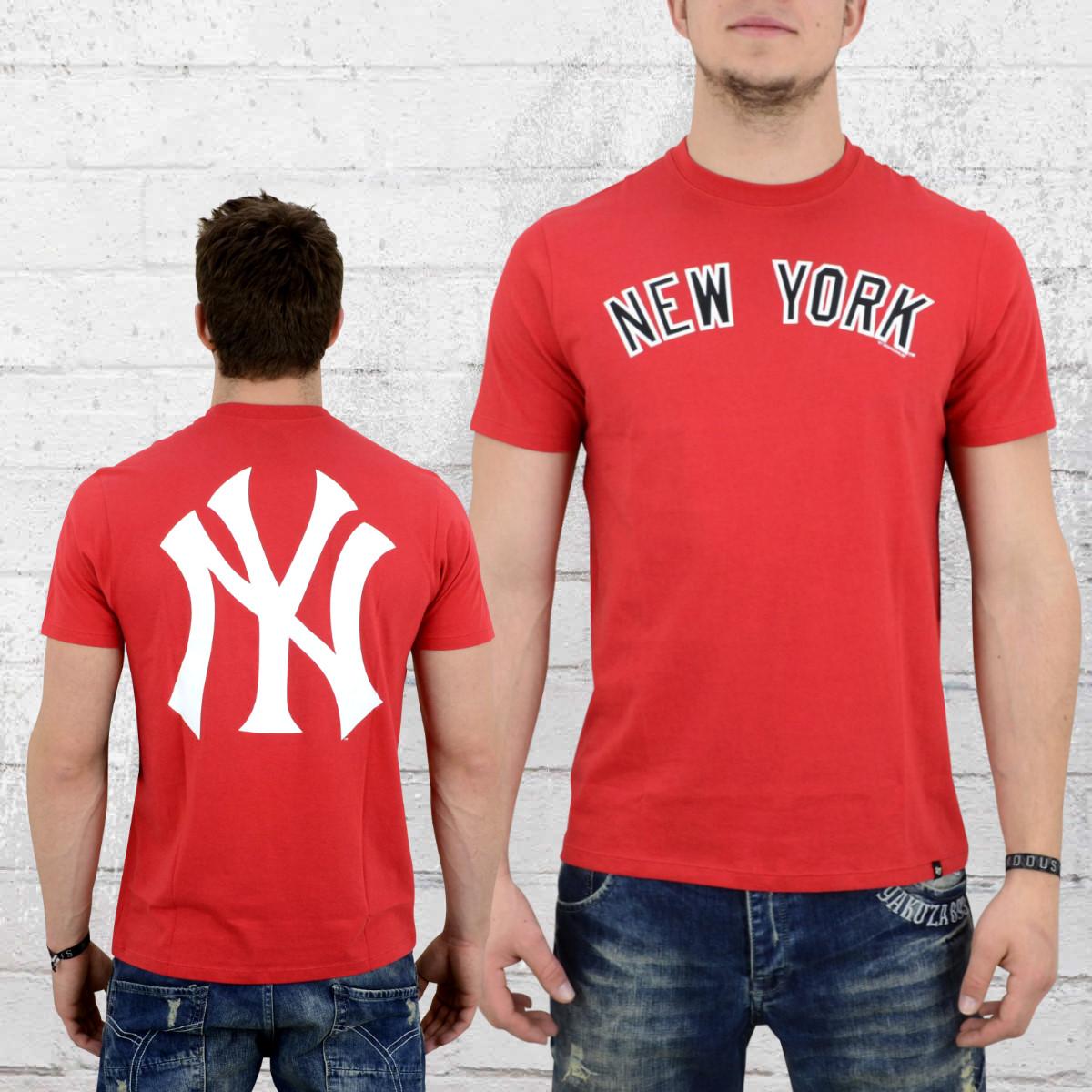 47 Brands Herren T-Shirt MLB Yankees Crosstown Frozen Rope rot