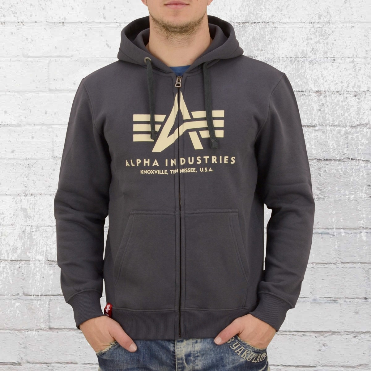 Alpha Industries Basic Kapuzenjacke Herren grau