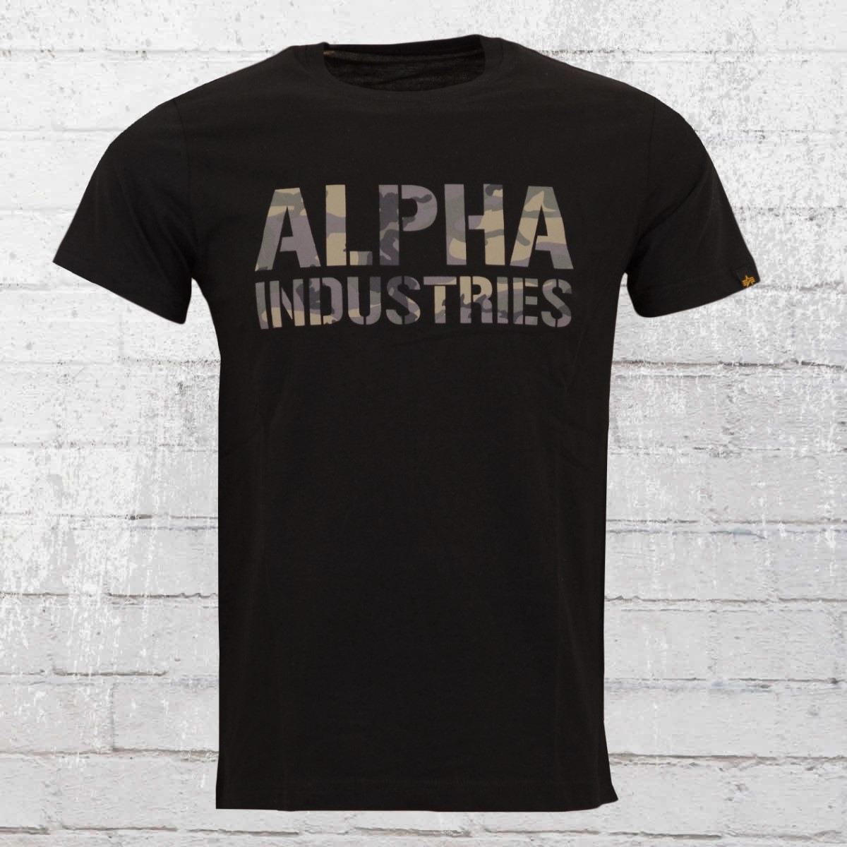 Alpha Industries Camo Print Männer T-Shirt schwarz