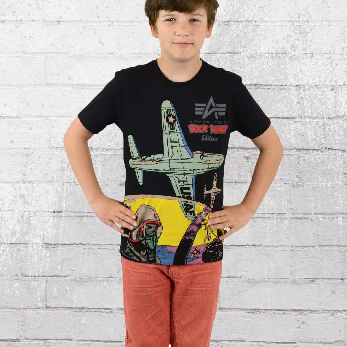 Alpha Industries Kinder T-Shirt Buck Danny Comic Cockpit T schwarz