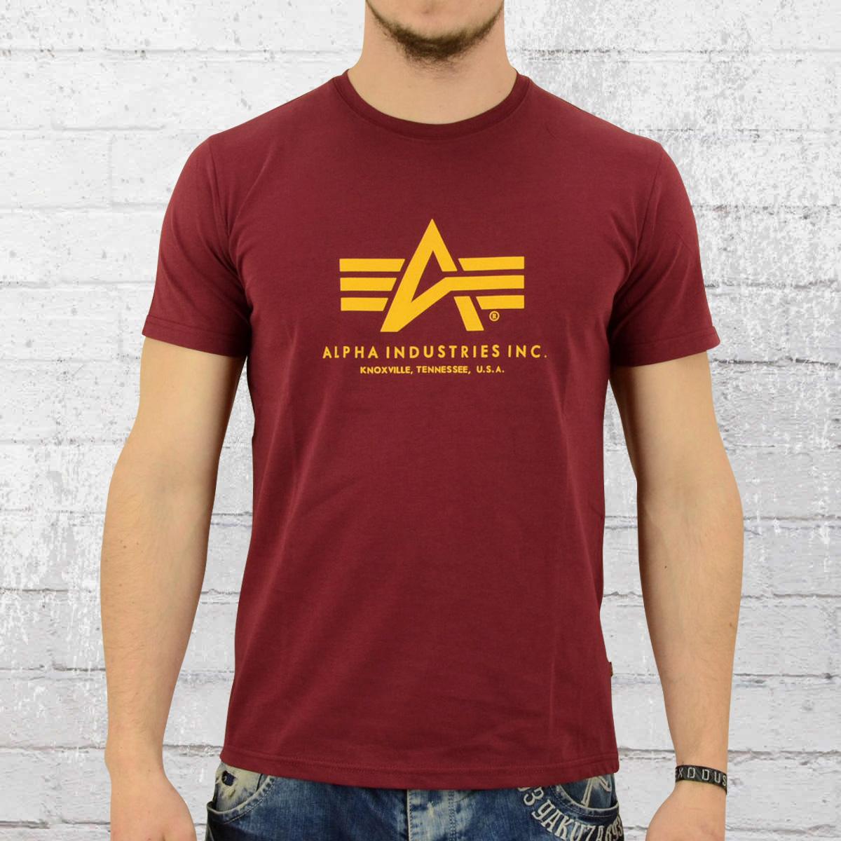 order now alpha industries male t shirt basic t burgundy. Black Bedroom Furniture Sets. Home Design Ideas