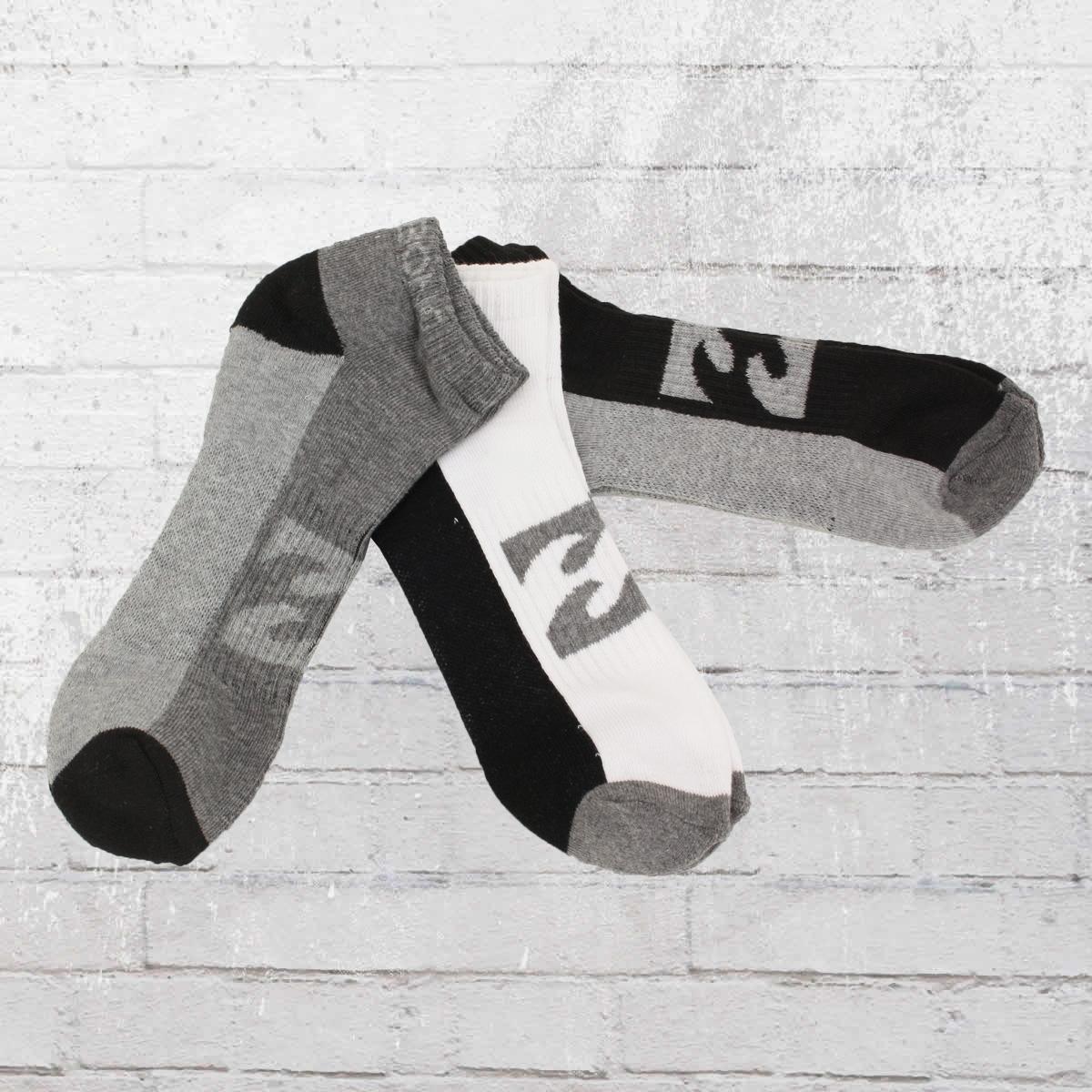 Billabong 3er Pack Socken Ankle Socks schwarz weiss grau