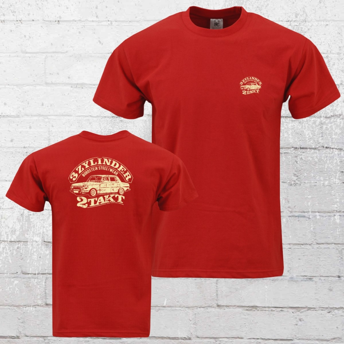 Bordstein Herren T-Shirt 3 Zylinder 2-Takt 2 rot