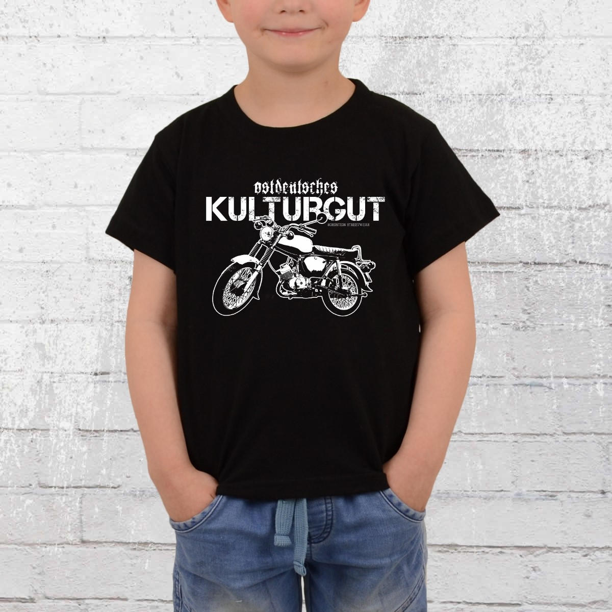 Bordstein Kinder T-Shirt Ostdeutsches Kulturgut schwarz