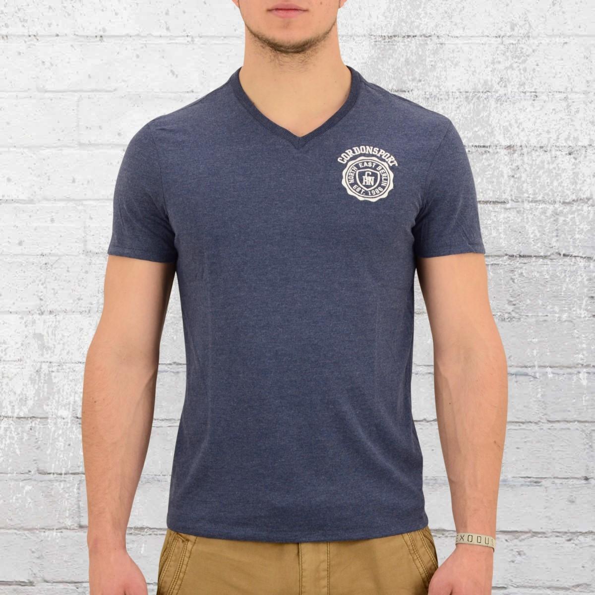 Cordon Berlin Herren V-Neck T-Shirt Jens blau melange