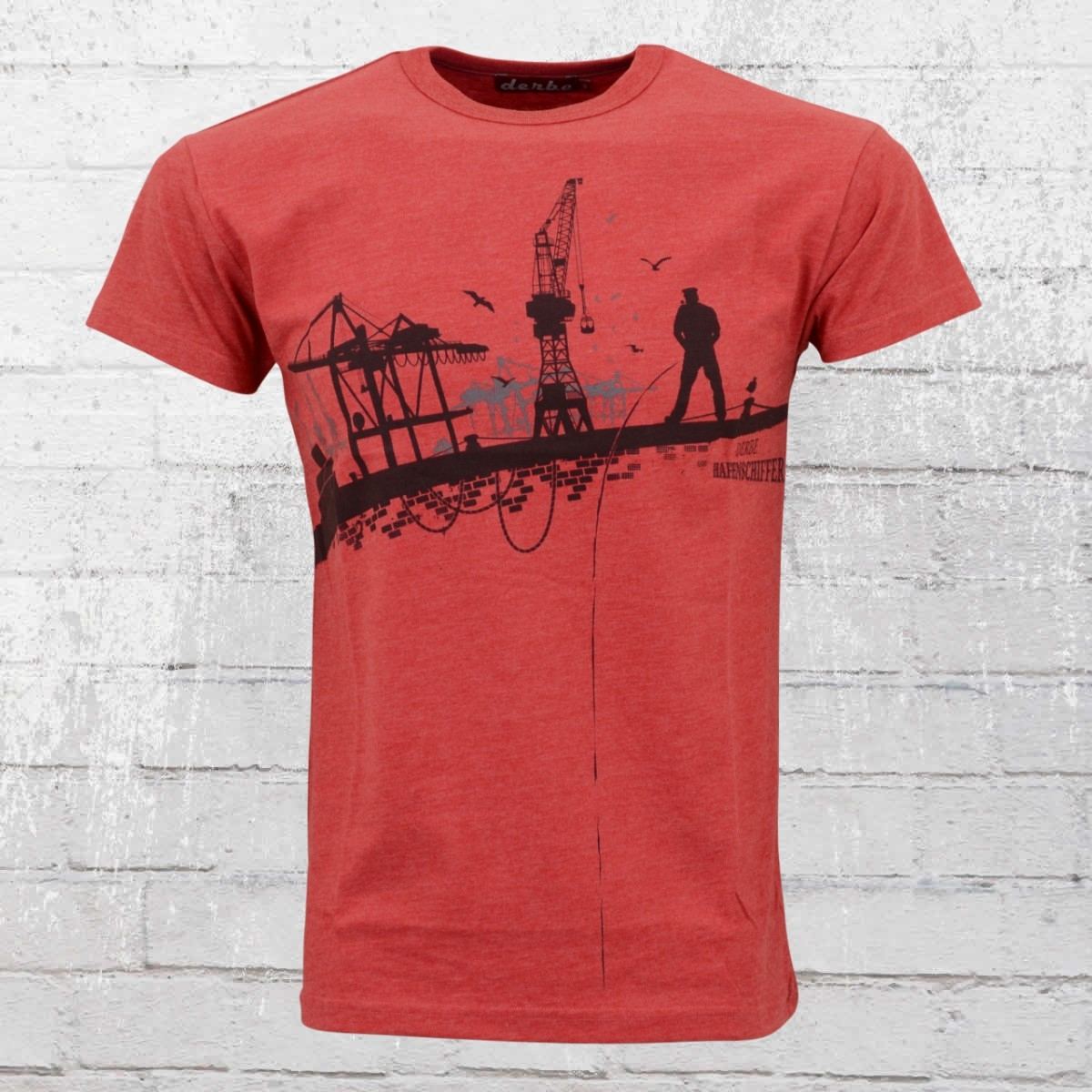 Derbe Hamburg Hafenschiffer Männer T-Shirt rot