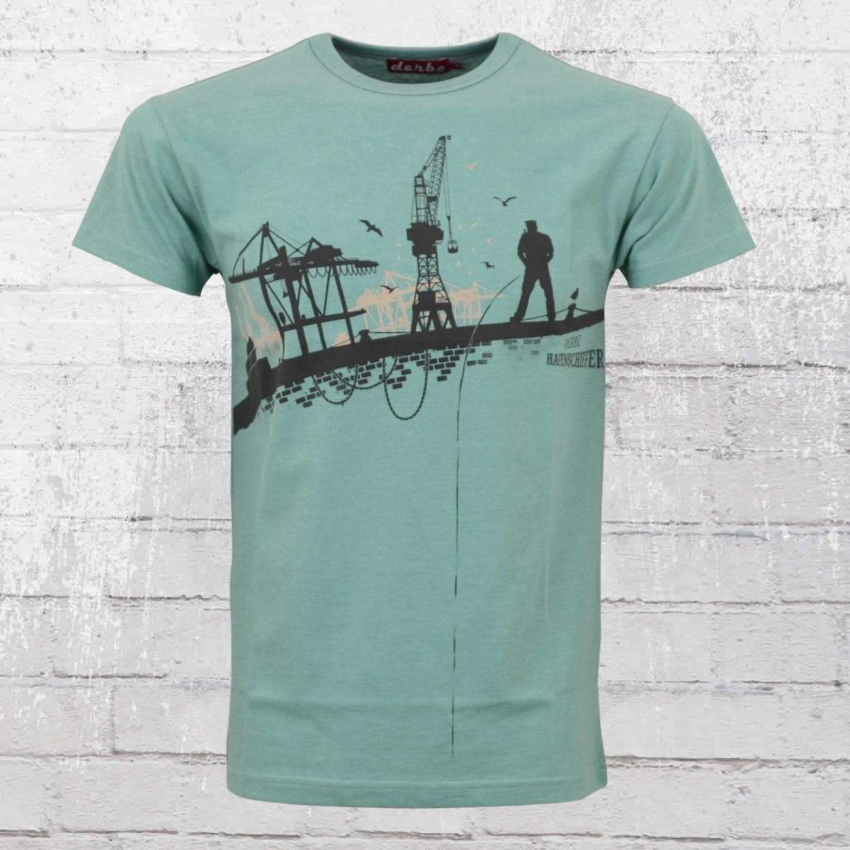 Derbe Hamburg Herren T-Shirt Hafenschiffer türkis grün