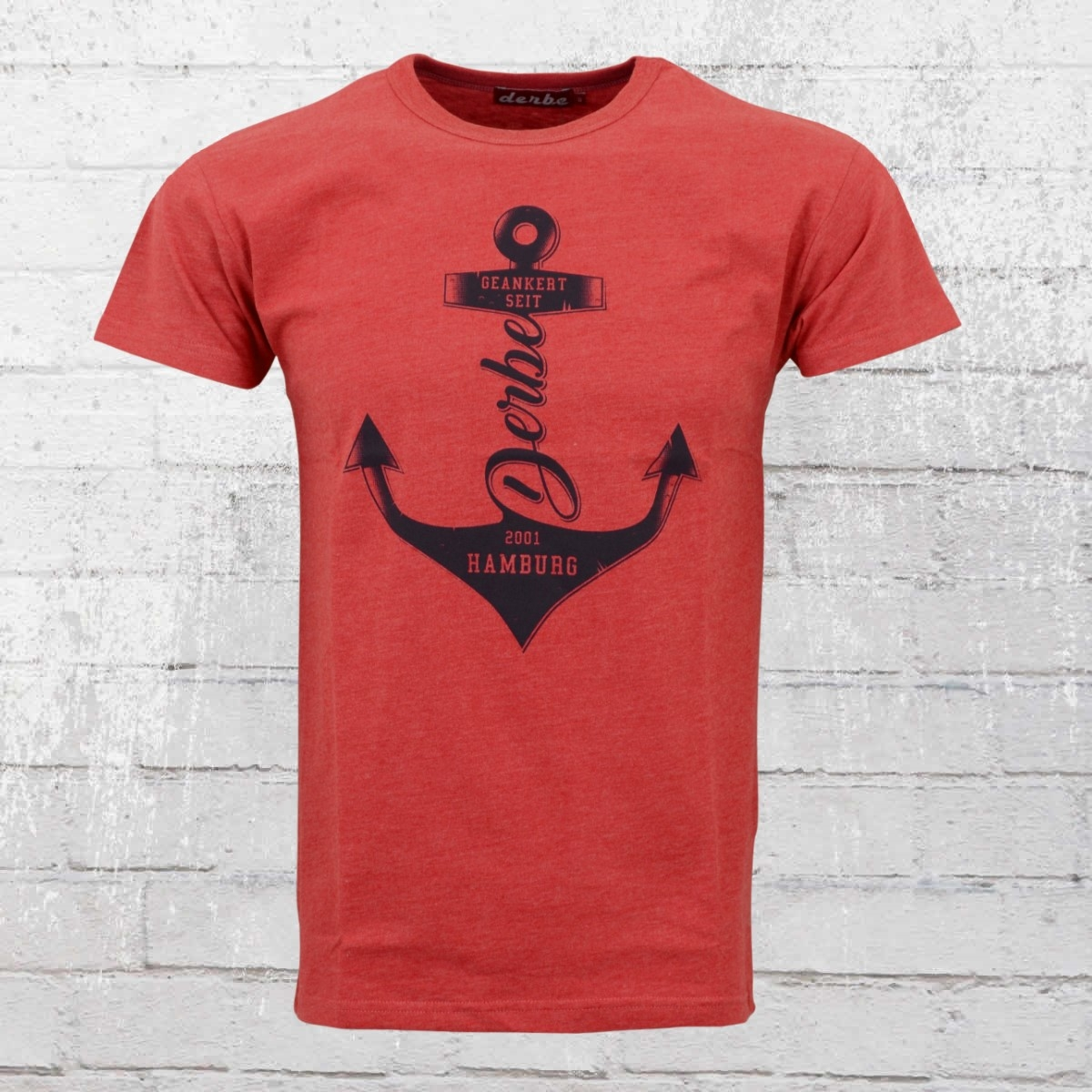 Derbe Hamburg T-Shirt Männer Geankert rot meliert