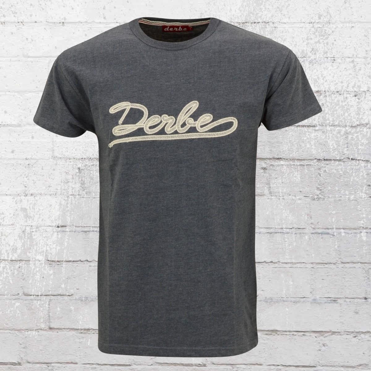 Derbe T-Shirt Männer Dock 5 mit Stickerei blau meliert