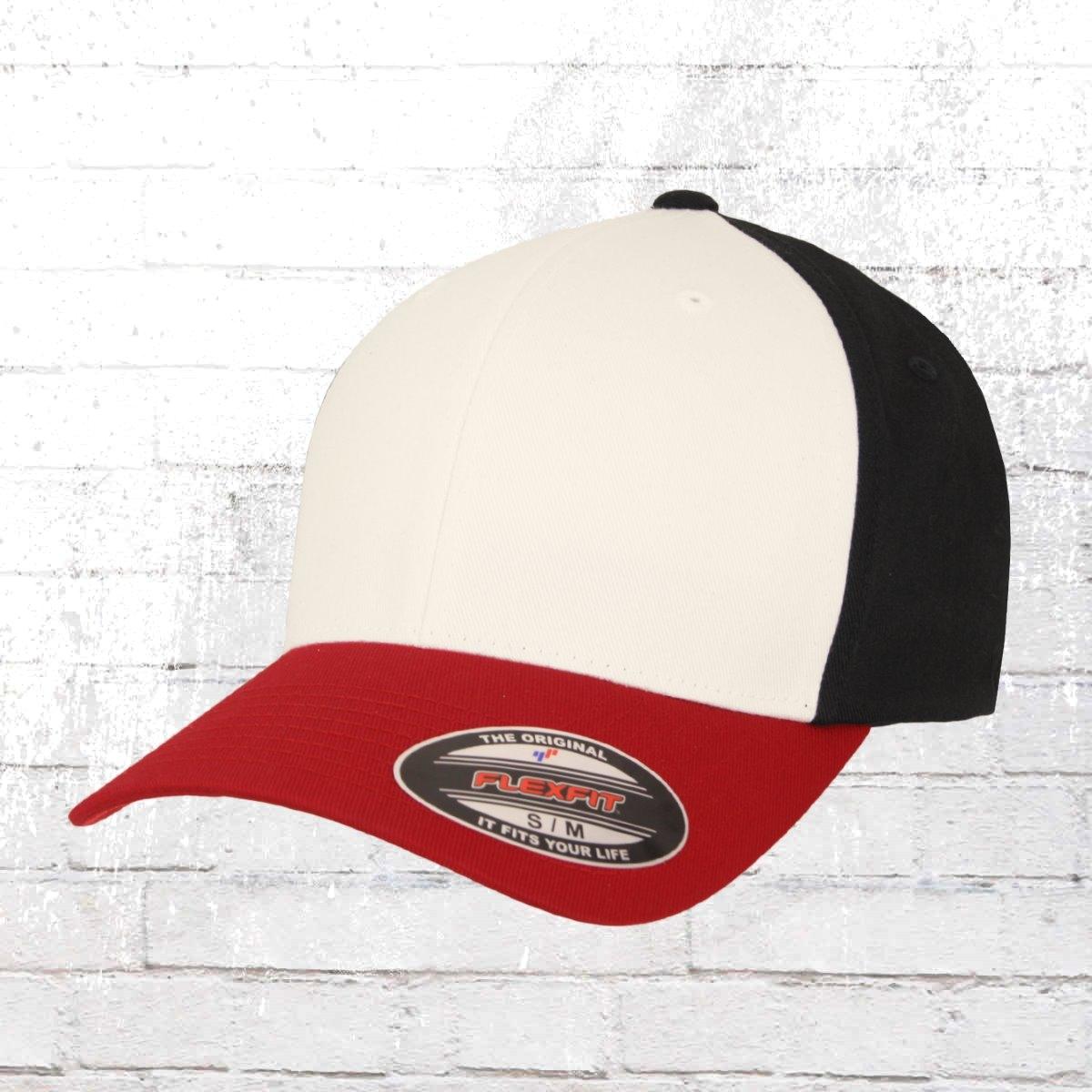Flexfit Cap 3 Tone rot weiss schwarz