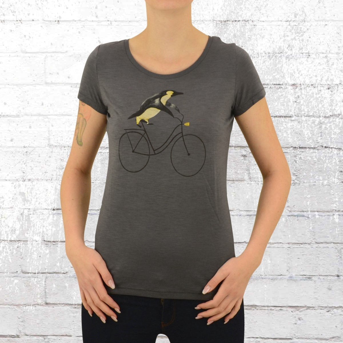 Greenbomb Damen Fahrrad T-Shirt Bike Pinguin grau