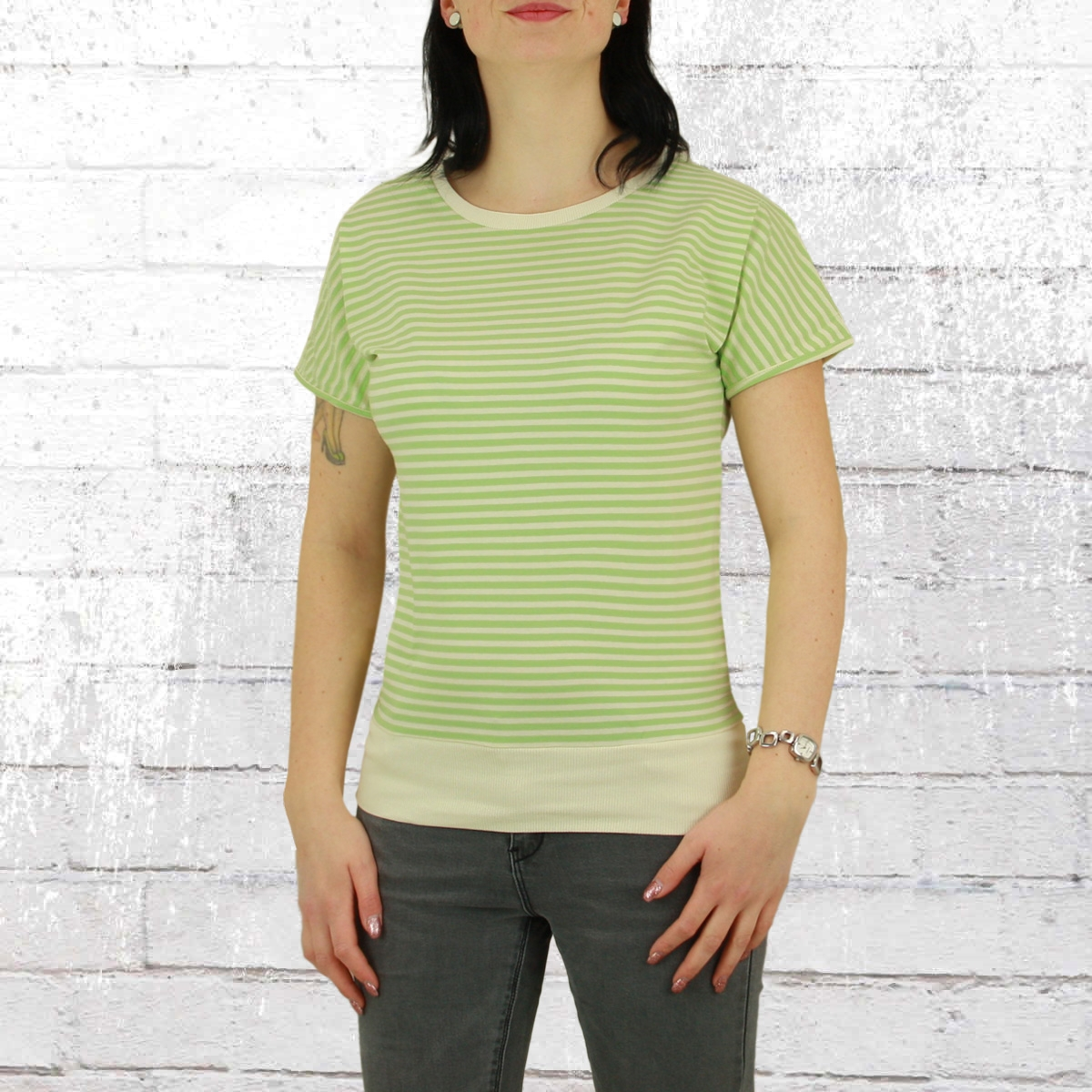 Greenbomb Frauen T-Shirt Basic Brave grün gestreift