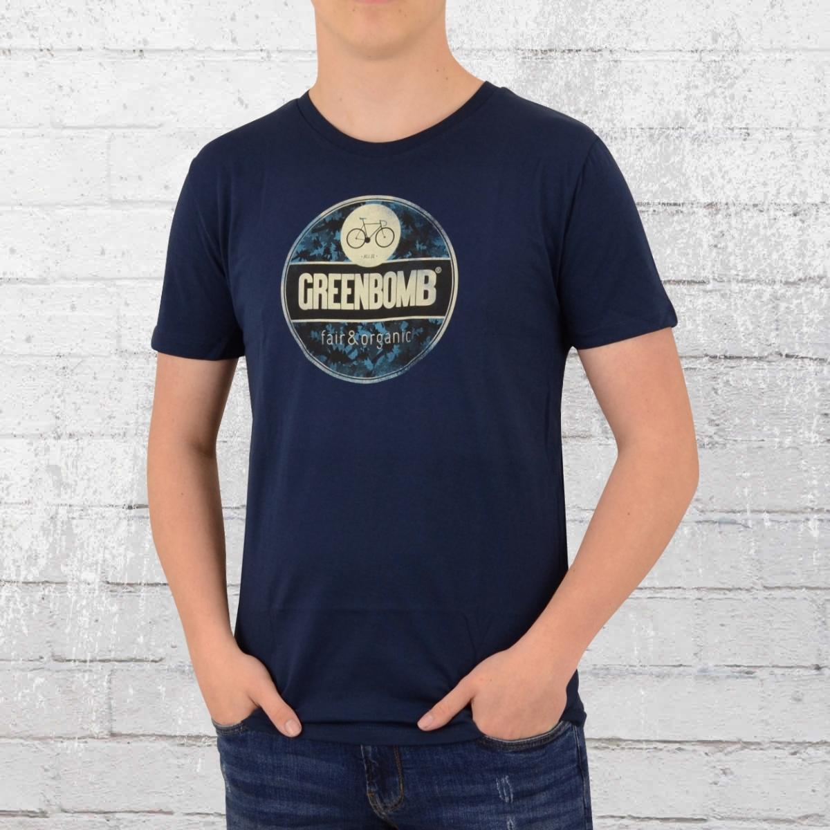 Greenbomb Herren Fahrrad T-Shirt Bike Emblem blau