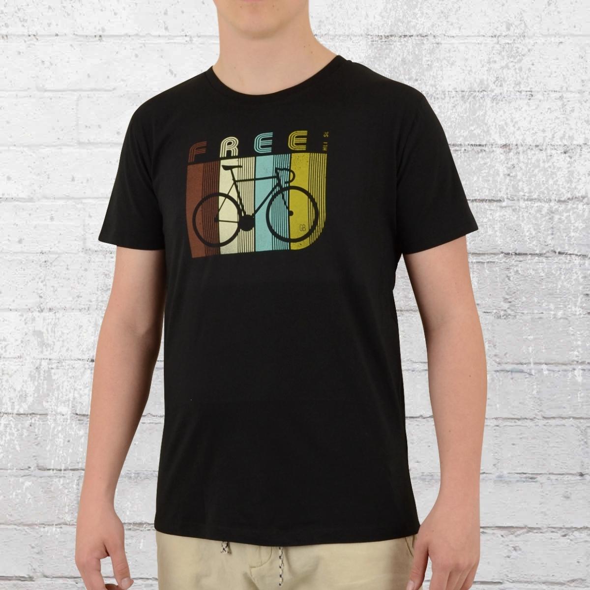 Greenbomb Männer Rennrad T-Shirt Bike Retro Stripes schwarz