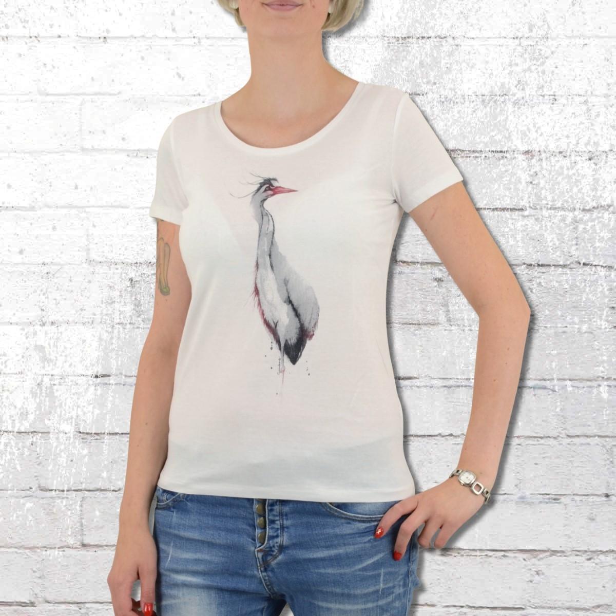 Greenbomb T-Shirt Damen Animal Fischreiher weiss
