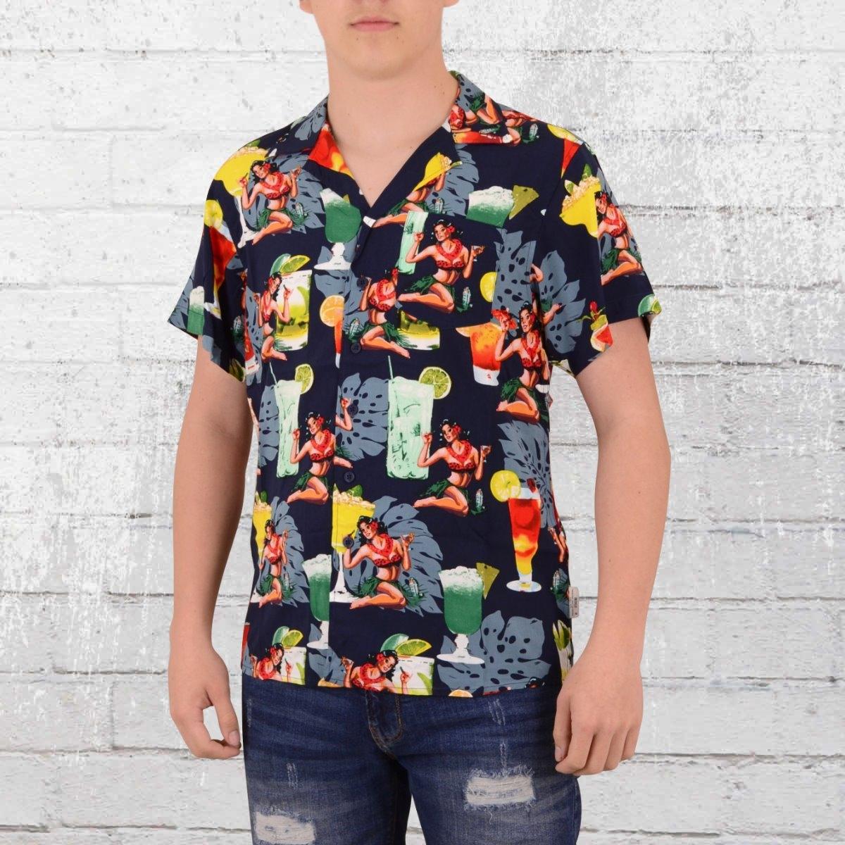 Indicode Hawaii Hemd Herren Gathorne blau