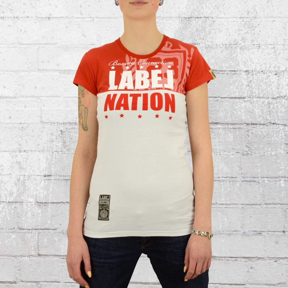 Label 23 Damen T-Shirt Label Nation weiss rot