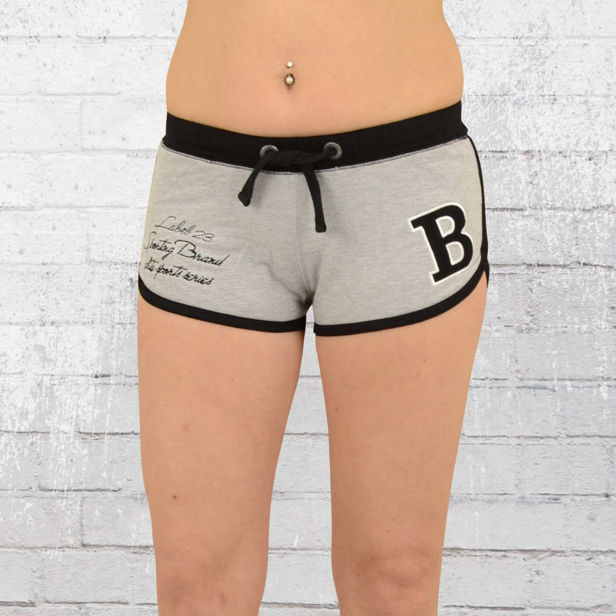169b20bc58386b Label 23 Frauen Hot Pants Sportsline Short grau meliert