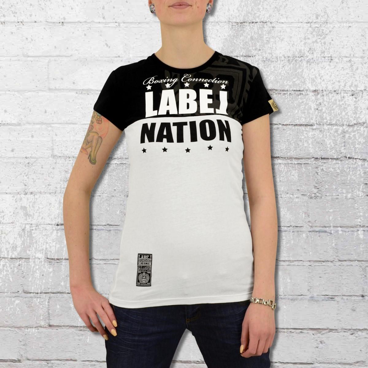 Label 23 Frauen T-Shirt Label Nation schwarz weiss