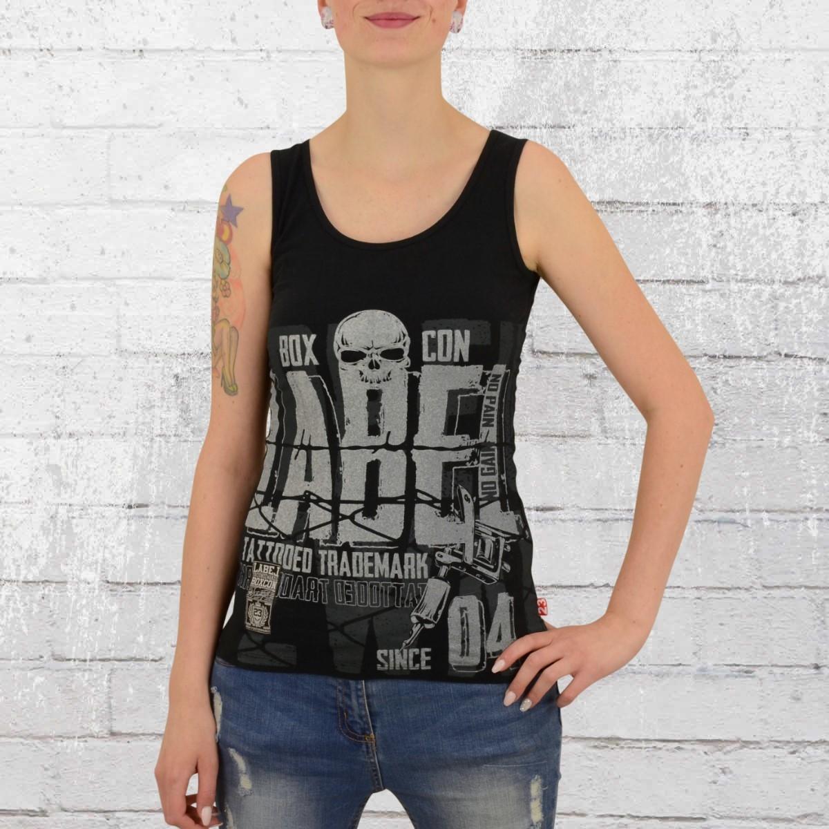 Label 23 Frauen Tank Top Tattoed schwarz
