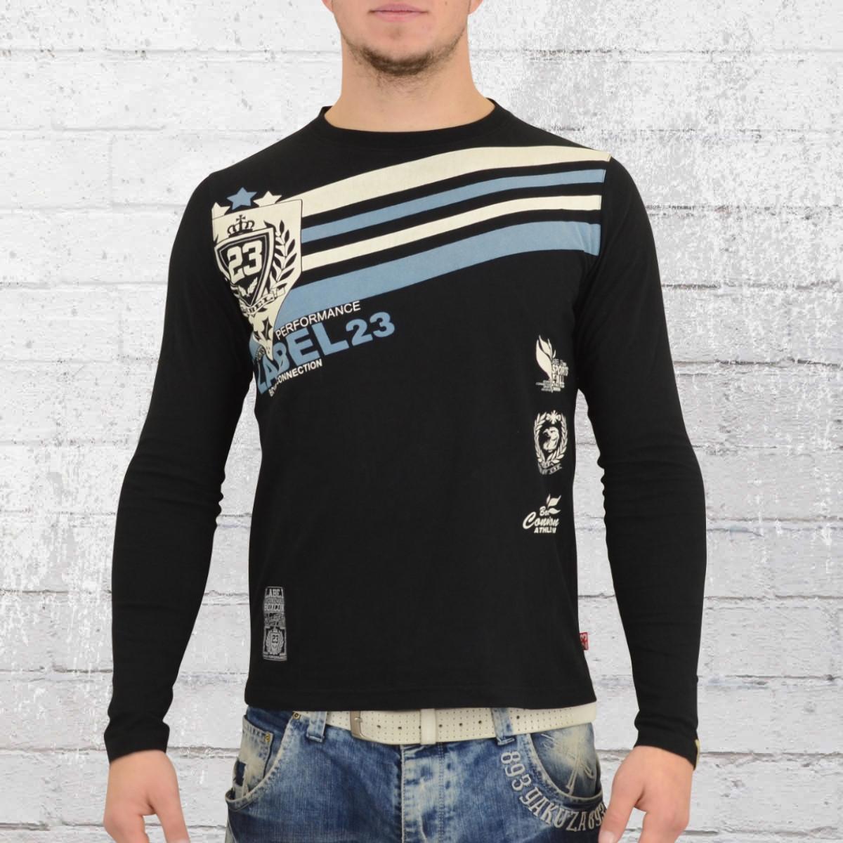 Label 23 Männer Longsleeve T-Shirt Retro schwarz