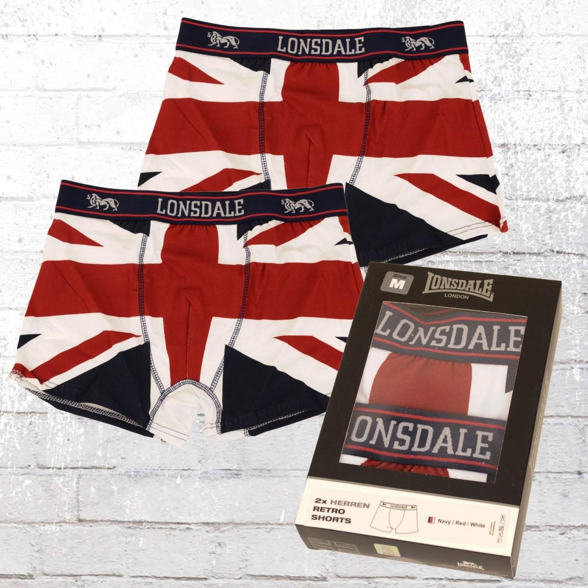 Lonsdale London 2er Pack Retro Boxer Shorts Tisbury blau weiss rot