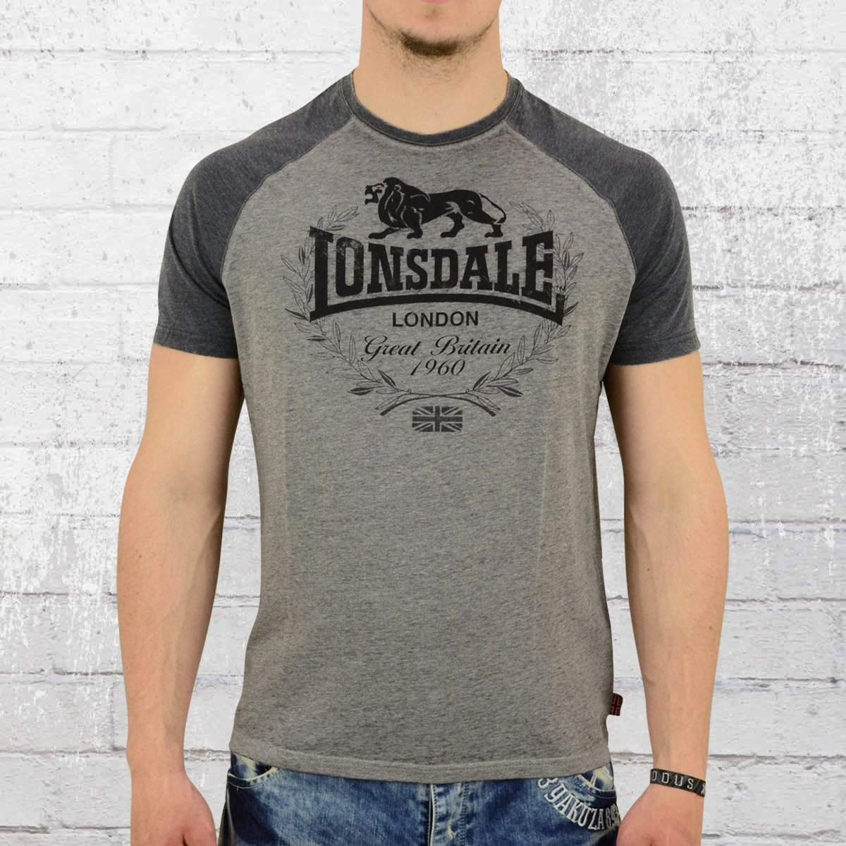 order now lonsdale london male t shirt newmill grey heather. Black Bedroom Furniture Sets. Home Design Ideas