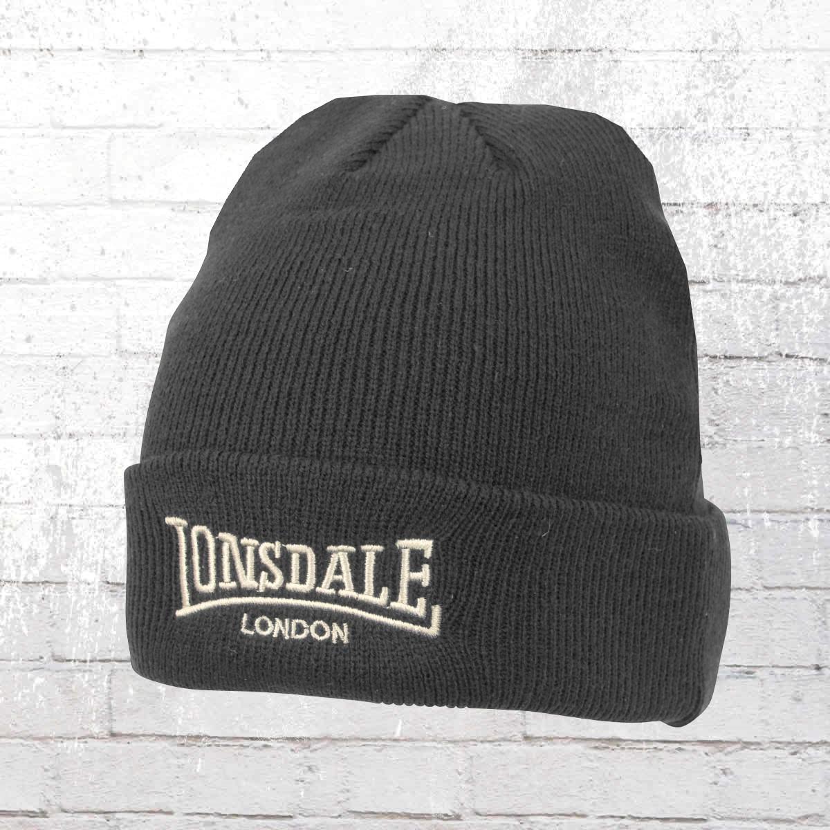 Lonsdale London Strick Mütze Bob Hat Beanie grau