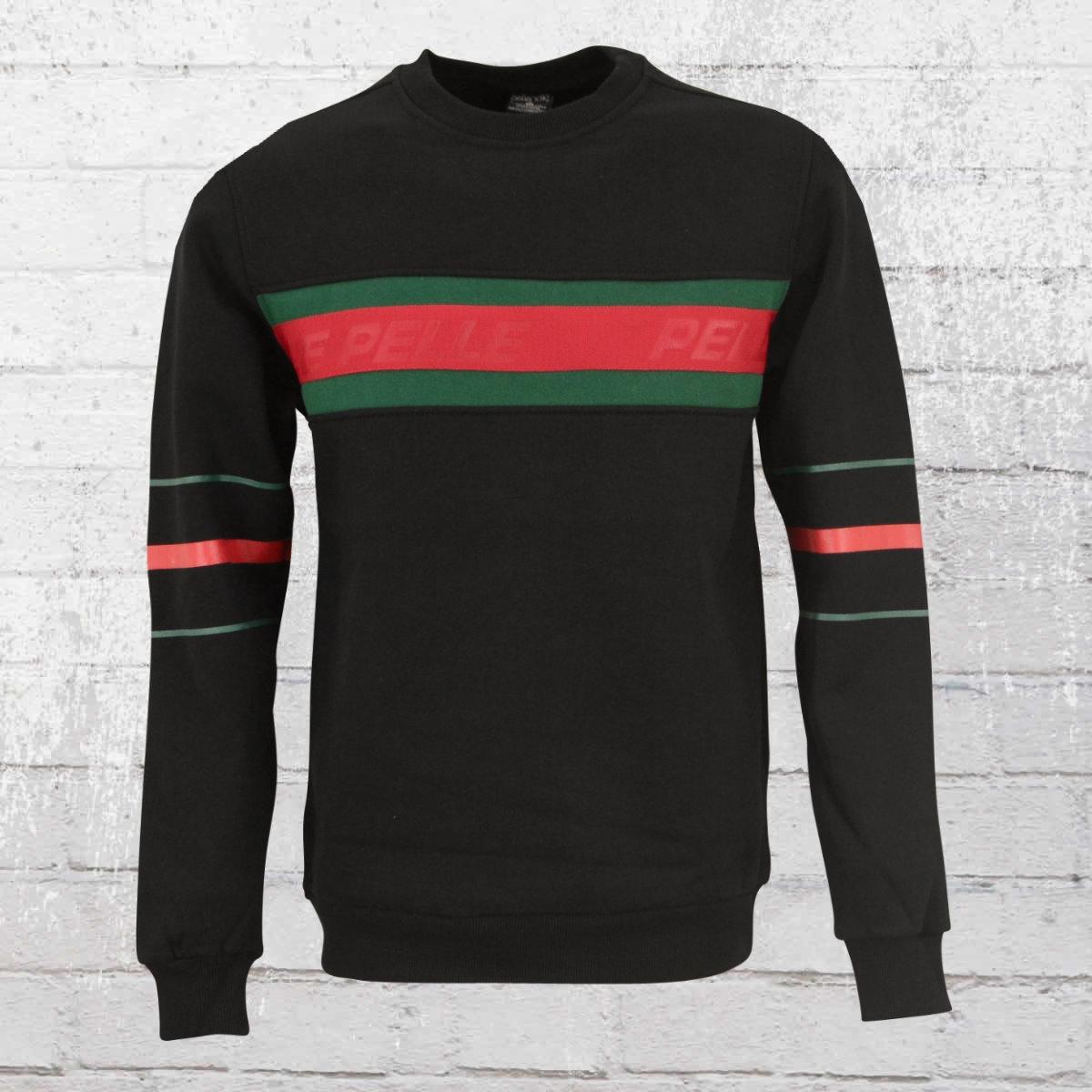 Pelle Pelle Herren Sweatshirt Front 2 Back schwarz