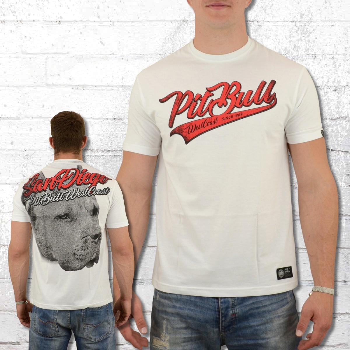 PitBull West Coast T-Shirt San Diego Dog weiss