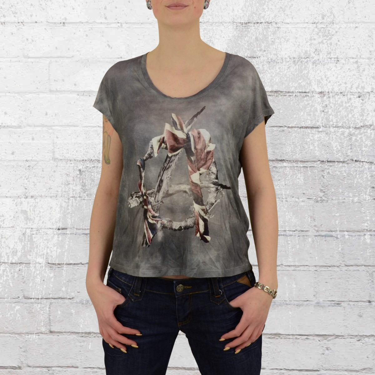 Religion Clothing Damen Oversize Top Riot vintage grau