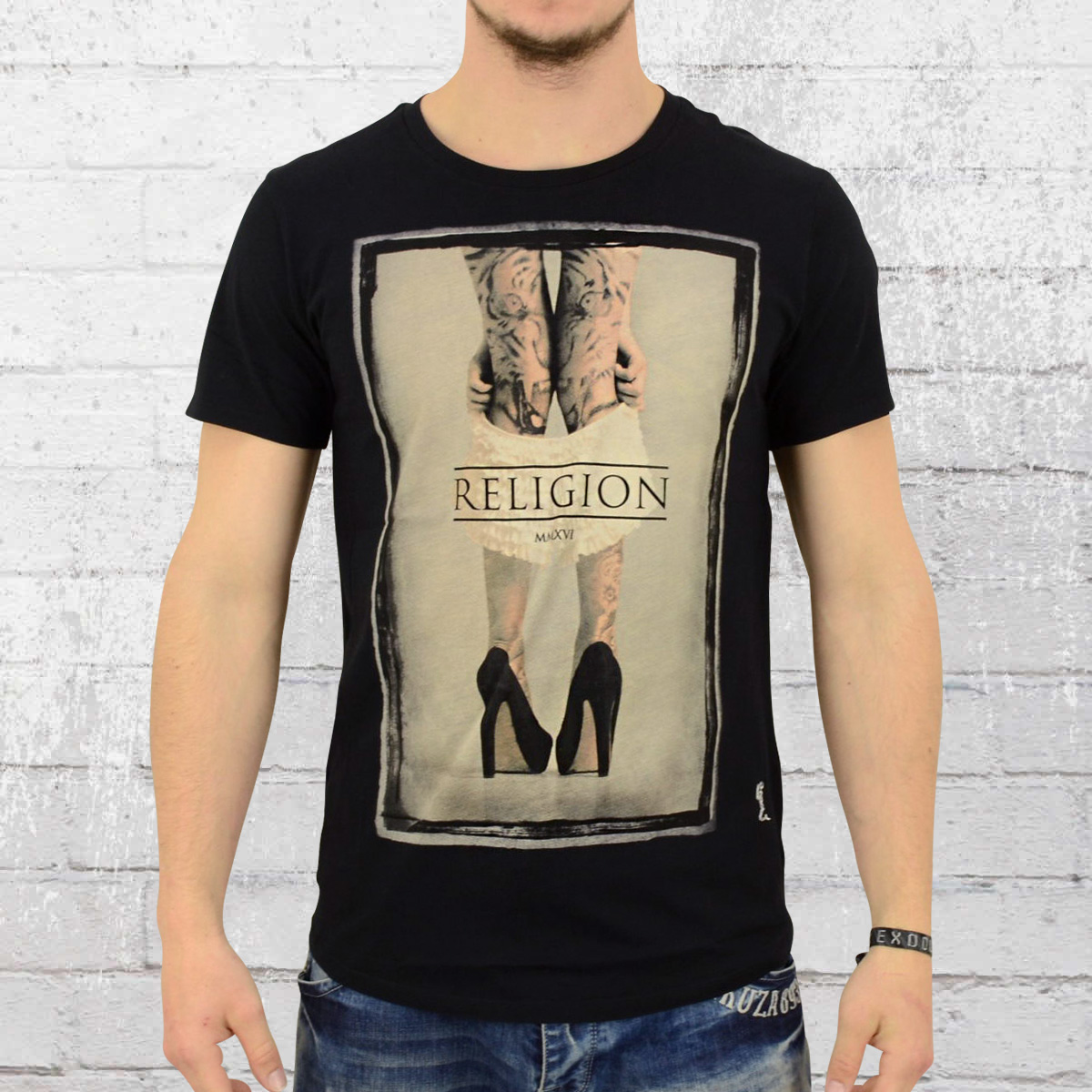 order now religion clothing t shirt mens pull them down black. Black Bedroom Furniture Sets. Home Design Ideas