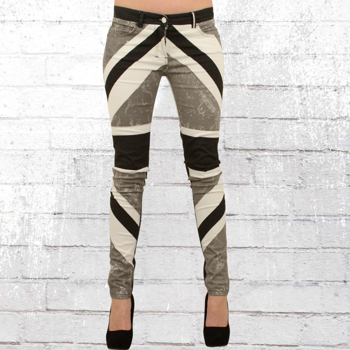 d34e6bbb8fb9 Religion Damen Skinny Jeans Hose Union Jack schwarz grau weiss