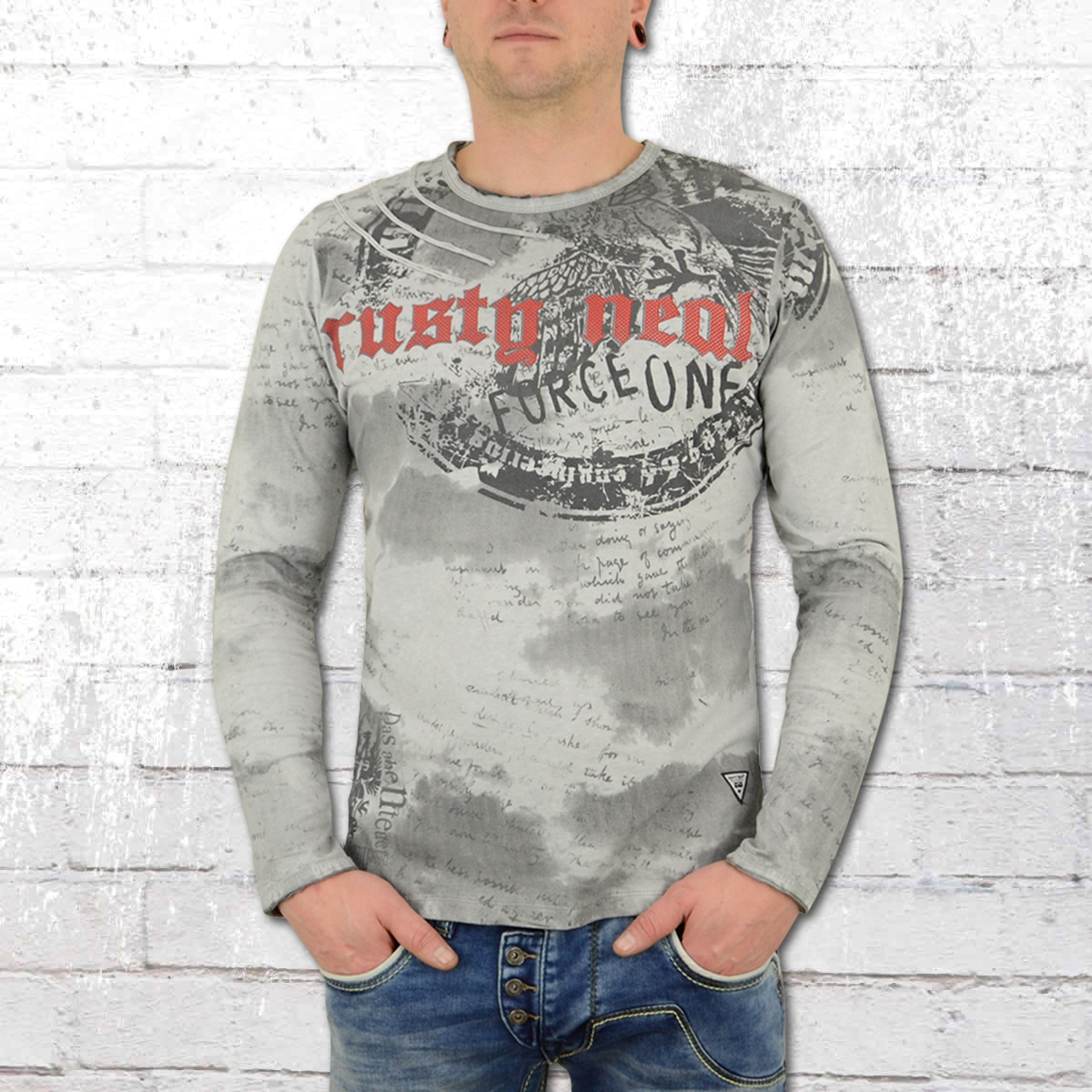 Rusty Neal Longsleeve Langarm T-Shirt Force One grau