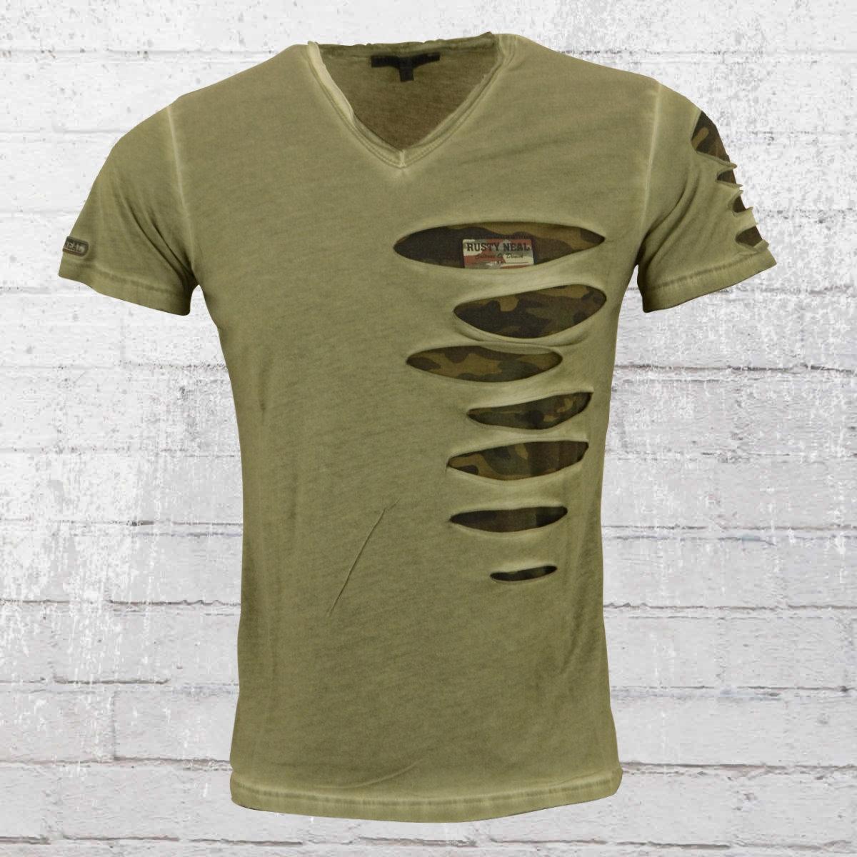 Rusty Neal Männer T-Shirt Camo Slit oliv