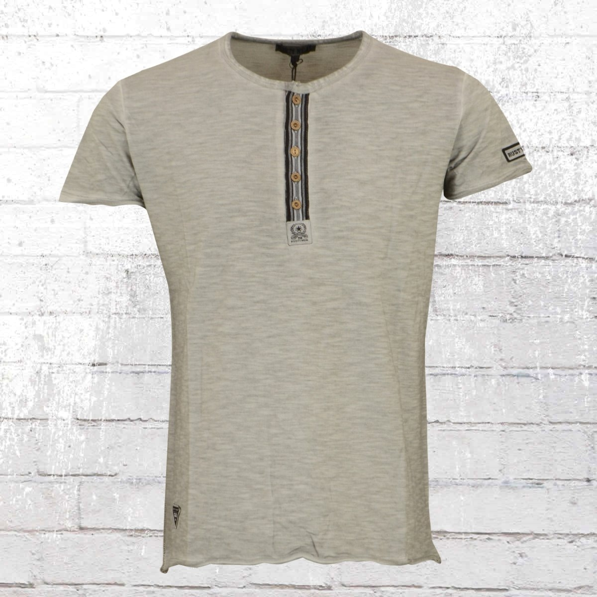 Rusty Neal Vintage T-Shirt Mit Knopfleiste grau