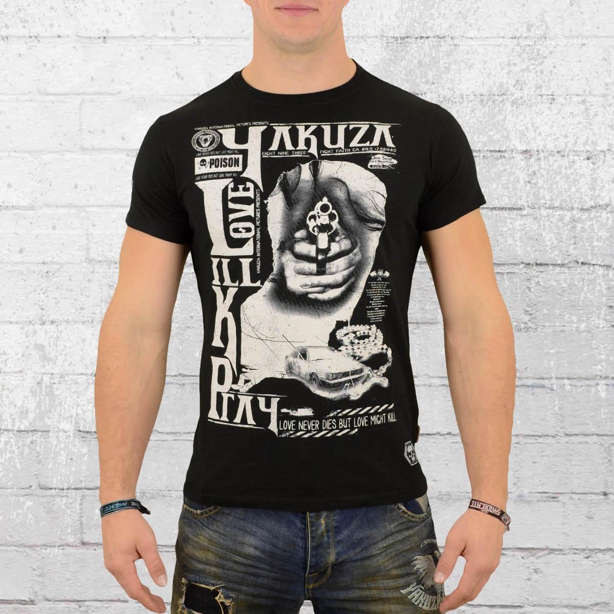 Yakuza Herren T-Shirt Love Kill Pray schwarz
