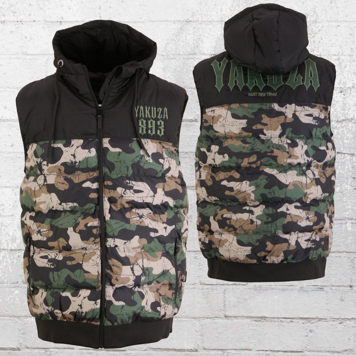 Yakuza Herren Weste Fuck Society schwarz camouflage
