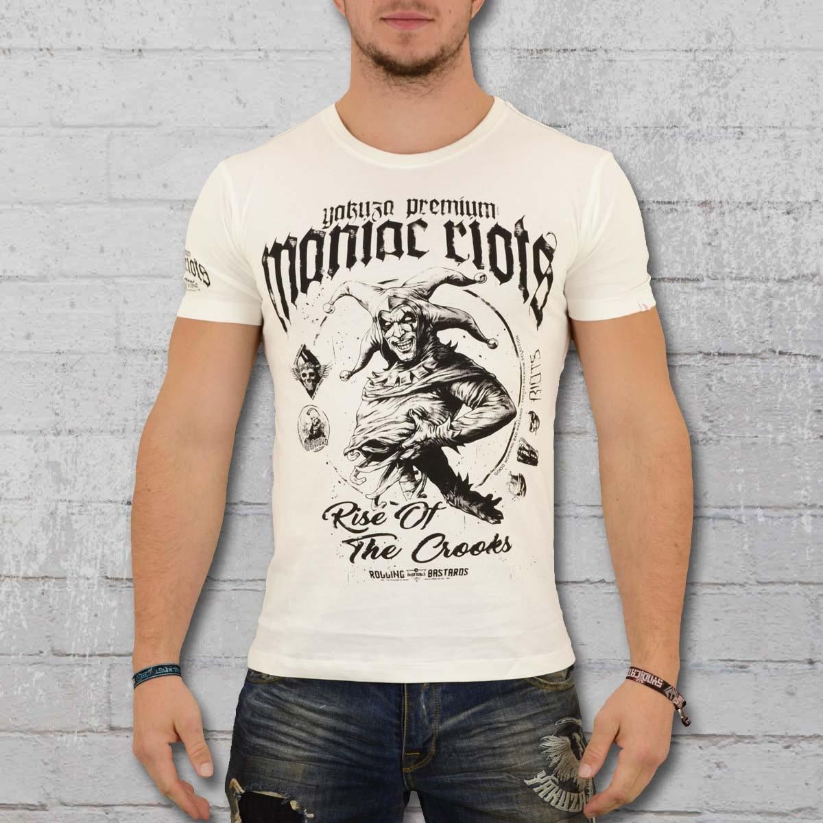 Yakuza Premium Herren T-Shirt Maniac Riots weiss