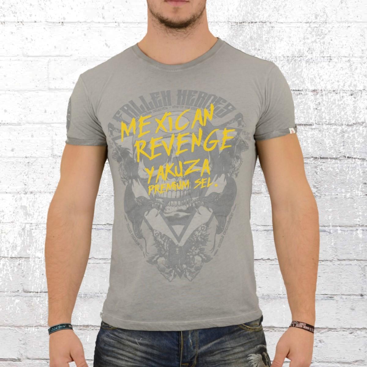 Yakuza Premium Herren T-Shirt Mexican Revenge grau verwaschen