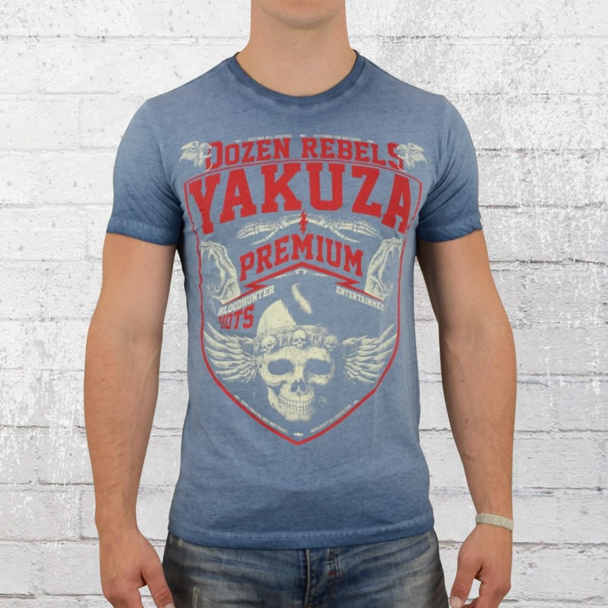 Yakuza Premium Herren Vintage T-Shirt Wappen blau