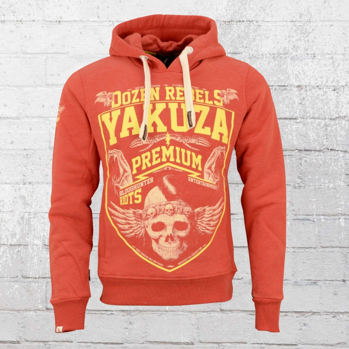 Yakuza Premium Männer Kapuzensweater Dozen Rebels Hoody rot