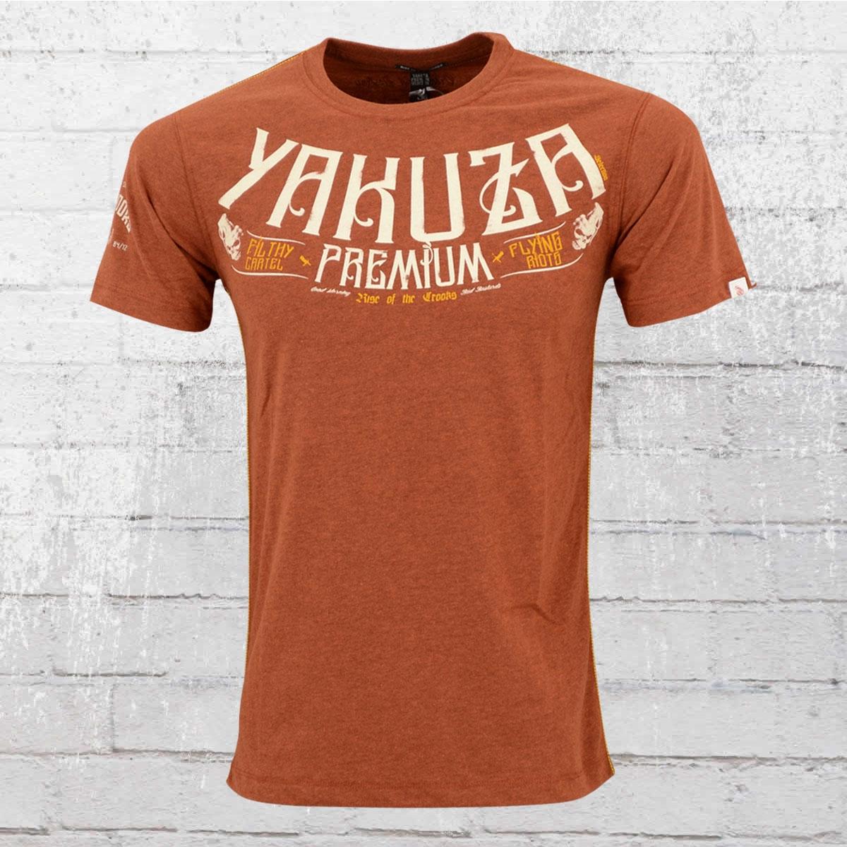 Yakuza Premium Männer T-Shirt Rise Of The Crooks rot-braun