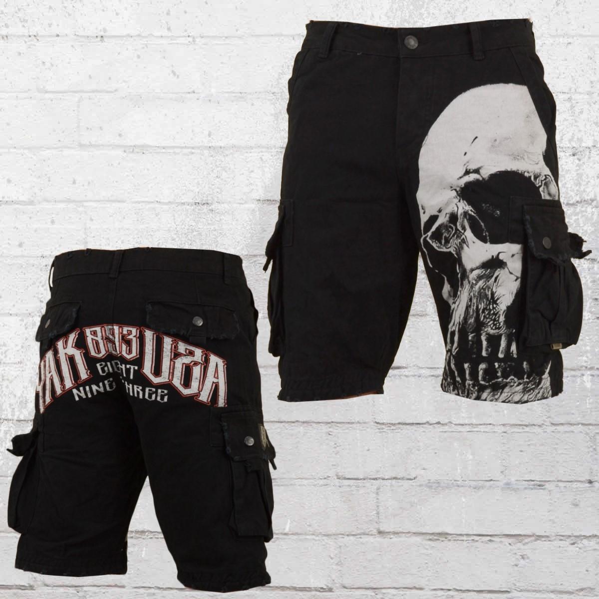 Yakuza Skull Cargo Short Herren vintage schwarz