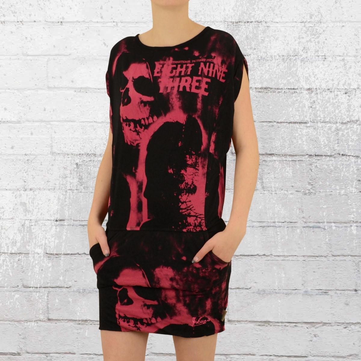 Yakuza Skull Dawn Mini Kleid schwarz pink