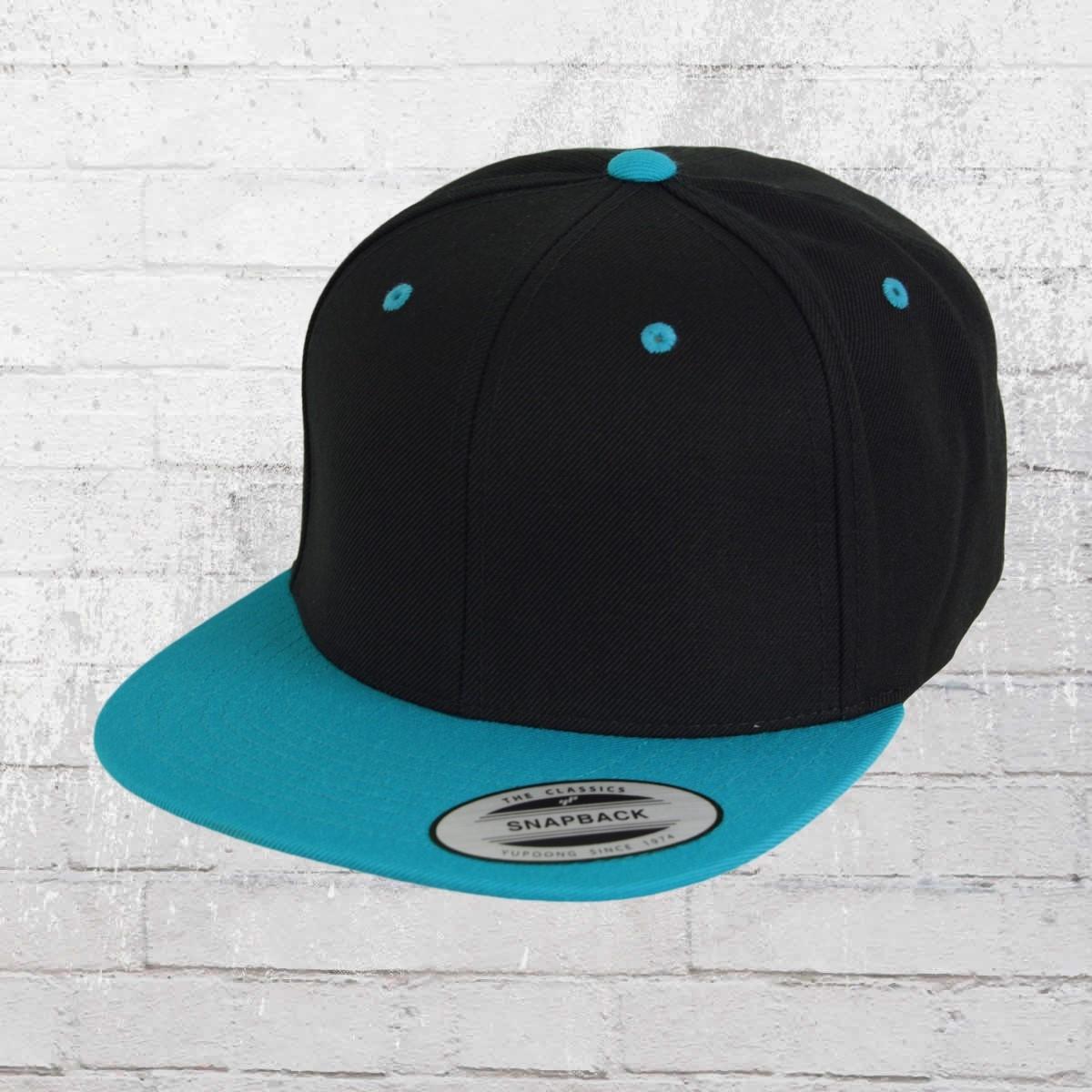 Yupoong Flexfit Cap Classic Snapback 2-Tone Mütze schwarz türkis