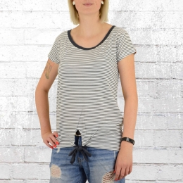Alife and Kickin Damen T-Shirt Tina weiss blau gestreift