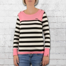 Alife and Kickin Frauen Longsleeve T- Shirt Leonie schwarz weiss pink