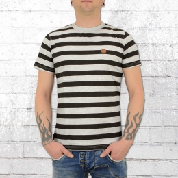 Alife and Kickin Herren T-Shirt Nic D grau schwarz gestreift