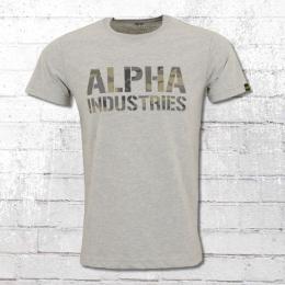 Alpha Industries Herren Camo Print T-Shirt grau melange